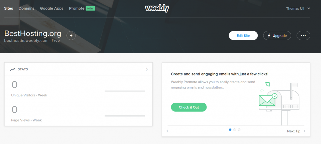 Weebly control panel
