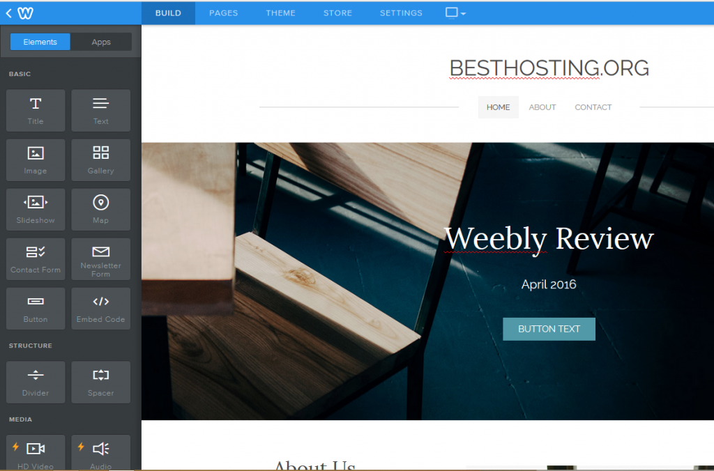 Weebly site builder