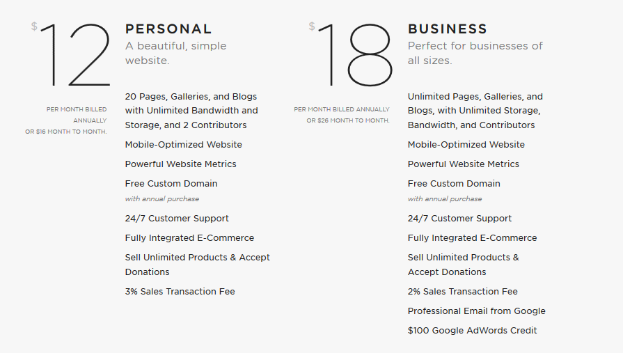 Squarespace website plan