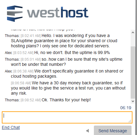 WestHost review live chat