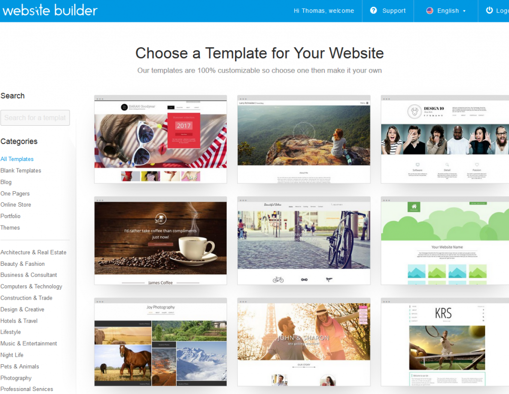 WebsiteBuilder.com templates