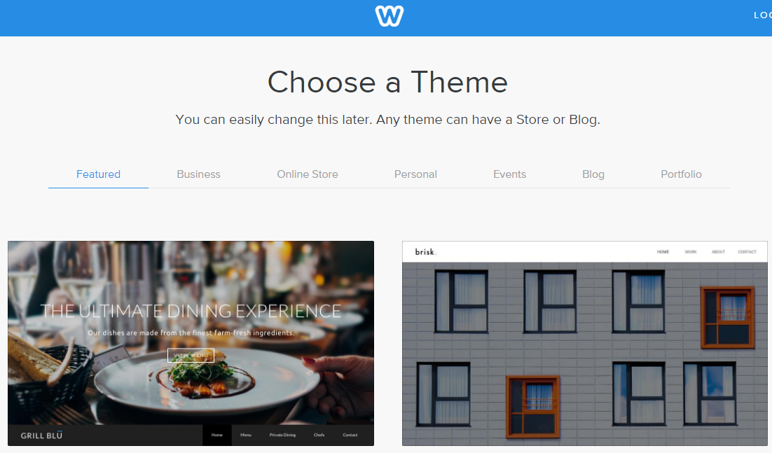Weebly Theme Selection