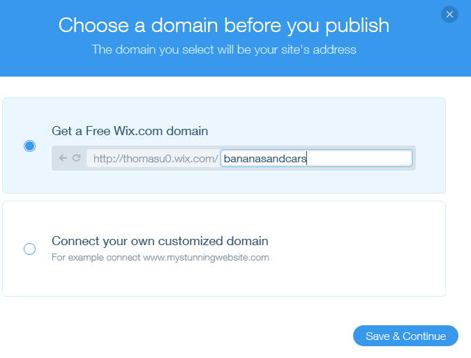 Wix domain registration